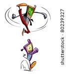 happy  cartoon mobile phones... | Shutterstock .eps vector #80239327