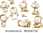 Stock vector  set of funny babies on a white background 80266720