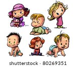 set of  funny babies on a... | Shutterstock .eps vector #80269351