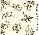 set of swirl floral ornament | Shutterstock .eps vector #80277814