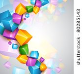 beautiful vector colorful cube...   Shutterstock .eps vector #80285143