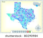 texas state map with community... | Shutterstock .eps vector #80290984