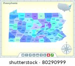 pennsylvania state map with... | Shutterstock .eps vector #80290999