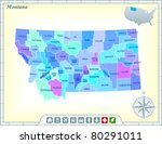 montana state map with...   Shutterstock .eps vector #80291011