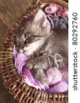 Stock photo sleeping resting in a basket of balls of yarn 80292760