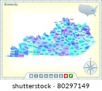 Kentucky State Map with Community Assistance and Activates Icons Original Illustration
