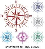 vector set of colorful compasses | Shutterstock .eps vector #80312521