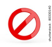 red forbidden sign. 3d render... | Shutterstock . vector #80330140