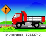 the red truck on the road with... | Shutterstock .eps vector #80333740