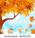 Vector Autumn Tree Maple Leave...