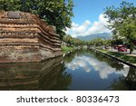 Chiangmai moat and ancient wall - stock photo