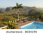 Hotel with swimming pool in the Valley of Vinales in Cuba. This valley is an UNESCO World Heritage site - stock photo