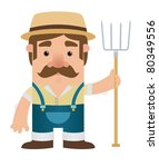 agriculture,art,brown,bumpkin,caricature,cartoon,character,country,crop,cute,design,drawing,farm,farmer,fork