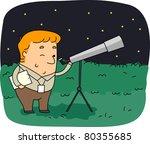illustration of an astronomer... | Shutterstock .eps vector #80355685