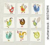 set of cartoon birds | Shutterstock .eps vector #80376094