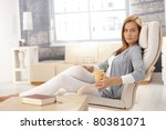 portrait of pretty woman having ... | Shutterstock . vector #80381071