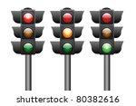 traffic lights isolated on white   Shutterstock . vector #80382616