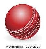 Illustration of shiny red traditional cricket ball - stock vector