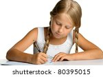 the girl writes to writing... | Shutterstock . vector #80395015