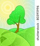 stylized landscape of swirly... | Shutterstock .eps vector #80395996