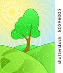 swirly summer landscape   raster | Shutterstock . vector #80396005