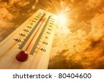 thermometer in the sky, the heat - stock photo