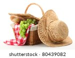 picnic basket and straw hat... | Shutterstock . vector #80439082