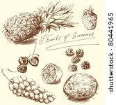 fruit   hand drawn collection ... | Shutterstock .eps vector #80441965