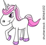 Mad crazy angry Unicorn Pony horse Vector Illustration - stock vector