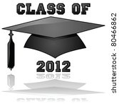 Glossy illustration of a hat and the words Class of 2012, reflected on a clear background - stock photo