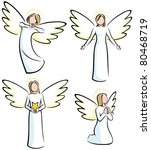 set of 4 stylized angels. | Shutterstock .eps vector #80468719