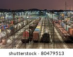 Freight Train Station At Night...