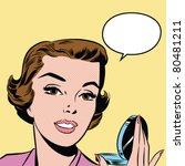 pop art woman holding a mirror | Shutterstock .eps vector #80481211