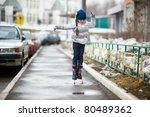 adorable little girl jumps in... | Shutterstock . vector #80489362