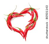 Heart Of Chili Pepper Isolated...