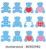 twelve pink teddy bears with... | Shutterstock .eps vector #80502982