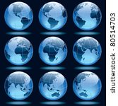 set of nine globes showing... | Shutterstock .eps vector #80514703