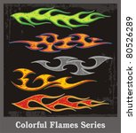 colorful flames and vehicle... | Shutterstock .eps vector #80526289