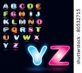 vector glowing alphabet | Shutterstock .eps vector #80532715