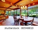 Dining room with beautiful view of the garden - stock photo