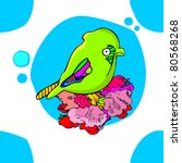 pattern with green bird | Shutterstock .eps vector #80568268