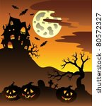 scene with halloween mansion 3  ... | Shutterstock .eps vector #80572327