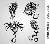 snake and dragon tattoo | Shutterstock .eps vector #80573416