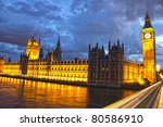 Parliament And Big Ben At Nigh...