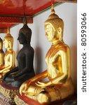 Buddha statue at Wat Phra Chetuphon Vimolmangklararm Rajwaramahaviharn - stock photo