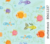 pattern with fishes | Shutterstock .eps vector #80611237