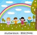 kids in spring | Shutterstock .eps vector #80615446