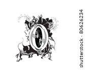 letter o ornate black and white | Shutterstock .eps vector #80626234