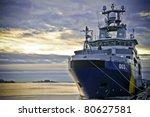 Coast Guard Ship At Sunrise