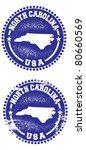 North Carolina USA Stamps - stock vector